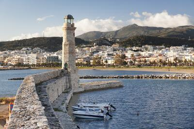 Lighthouse at Old Venetian Harbour, Rethymno (Rethymnon), Crete, Greek Islands, Greece, Europe-Markus Lange-Photographic Print