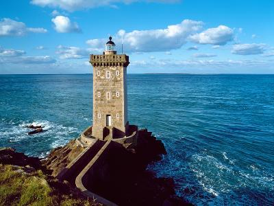 Lighthouse at the Coast, Kermorvan Lighthouse, Finistere, Brittany, France--Photographic Print
