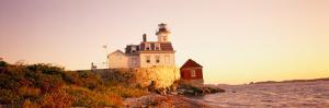 Lighthouse at the Coast, Rose Island Light, Newport, Rhode Island, New England, USA