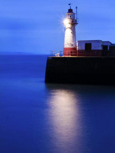 Lighthouse at the End of the Newlyn Pier at Dawn, Long Exposure, Newlyn, Cornwall, UK-Nadia Isakova-Photographic Print
