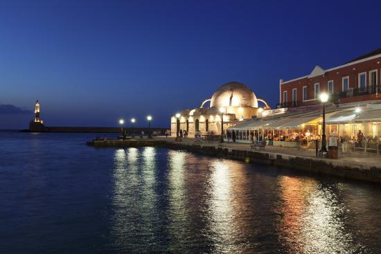 Lighthouse at Venetian Port and Turkish Mosque Hassan Pascha at Night, Chania, Crete-Markus Lange-Photographic Print