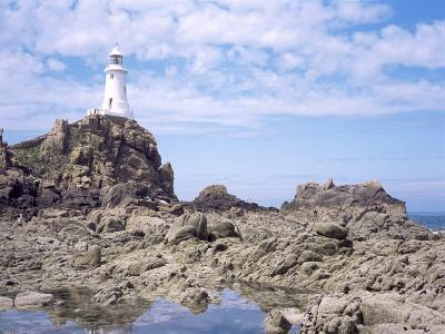 Lighthouse from the Causeway at Low Tide, Corbiere, St. Brelade, Jersey, Channel Islands-David Hunter-Photographic Print