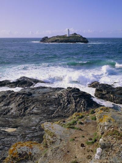 Lighthouse, Godrevy Point, St. Ives Bay, Cornwall, England, UK-Roy Rainford-Photographic Print