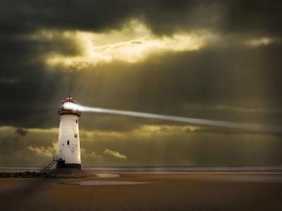 Lighthouse in a Storm with Beam Shining to Sea- meirion-Photographic Print