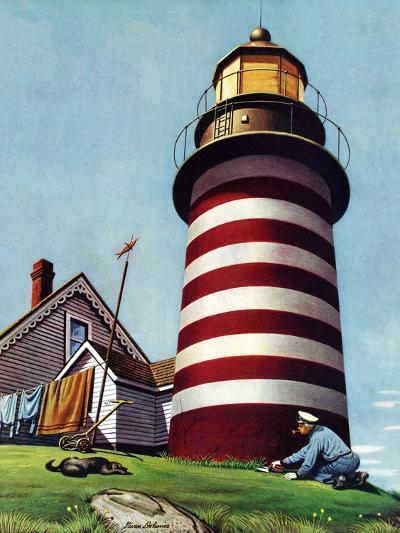 """""""Lighthouse Keeper,"""" September 22, 1945-Stevan Dohanos-Giclee Print"""