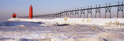 Lighthouse near a Pier, Grand Haven, Michigan, USA--Photographic Print