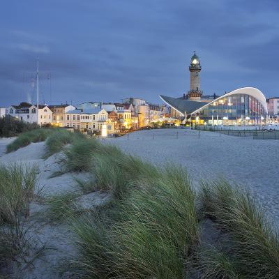 Lighthouse of WarnemŸnde, Dunes, Mecklenburg-Western Pomerania, Germany-Rainer Mirau-Photographic Print