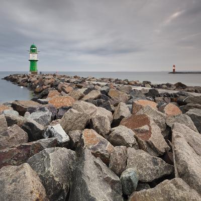 Lighthouse of WarnemŸnde, Wast Mole (Jetty), Mecklenburg-Western Pomerania, Germany-Rainer Mirau-Photographic Print