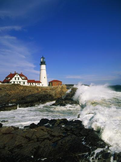Lighthouse on Coastline-Cody Wood-Photographic Print