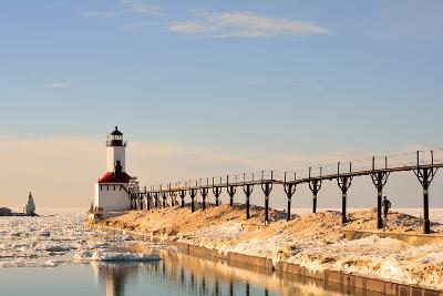 Lighthouse on Sunny Winter Day with Man Running- ErynnZ-Photographic Print