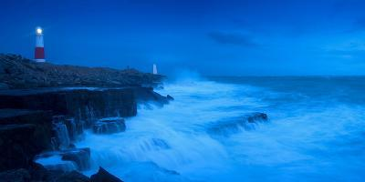 Lighthouse on the Coast at Dusk, Portland Bill Lighthouse, Portland Bill, Dorset, England--Photographic Print