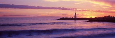 Lighthouse on the Coast at Dusk, Walton Lighthouse, Santa Cruz, California, USA--Photographic Print