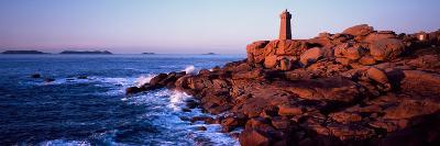 Lighthouse on the Coast, Ploumanach Lighthouse, Cote De Granit Rose, Cotes-D'Armor, Brittany, Fr...--Photographic Print