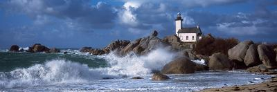 Lighthouse on the Coast, Pontusval Lighthouse, Brignogan, Finistere, Brittany, France--Photographic Print