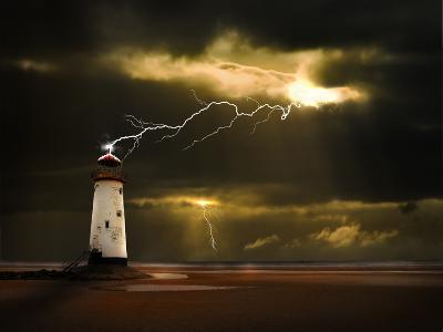 Lighthouse on Welsh Coast Struck by Lightning Bolt- meirion-Photographic Print