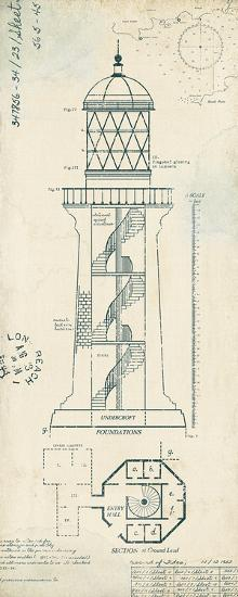 Lighthouse Plans I-The Vintage Collection-Art Print