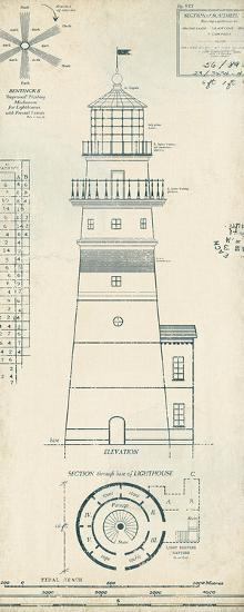 Lighthouse Plans III-The Vintage Collection-Art Print