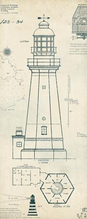 Green lighthouse blueprints interior design 3d lighthouse plans iv art print by the vintage collection art com rh art com mini lighthouse plans minecraft lighthouse blueprint malvernweather Image collections