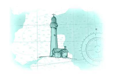 Lighthouse - Teal - Coastal Icon-Lantern Press-Art Print