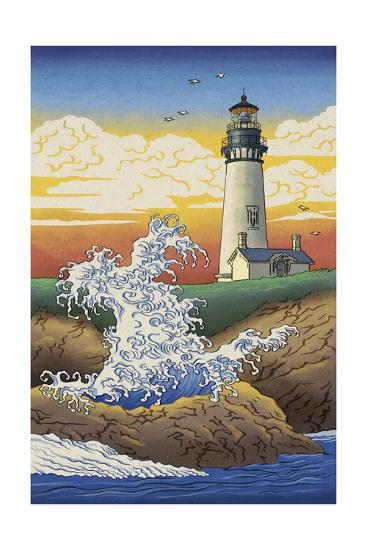 Lighthouse - Woodblock Print-Lantern Press-Art Print