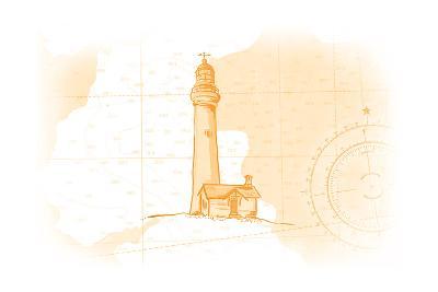 Lighthouse - Yellow - Coastal Icon-Lantern Press-Art Print