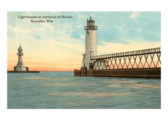 Lighthouses, Kenosha, Wisconsin--Art Print