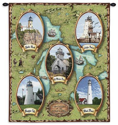 Lighthouses of the Great Lakes--Wall Tapestry