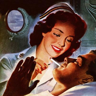 """Lighting His Cigarette,"" October 23, 1943-Jon Whitcomb-Giclee Print"