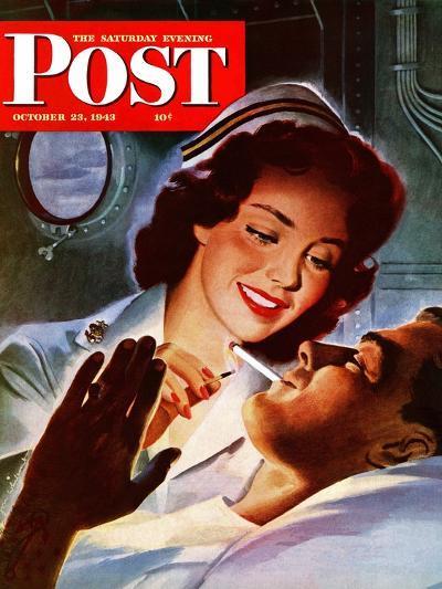 """Lighting His Cigarette,"" Saturday Evening Post Cover, October 23, 1943-Jon Whitcomb-Giclee Print"