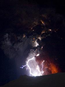 Lighting Seen Amid the Lava and Ash Erupting from the Vent of the Volcano in Central Iceland