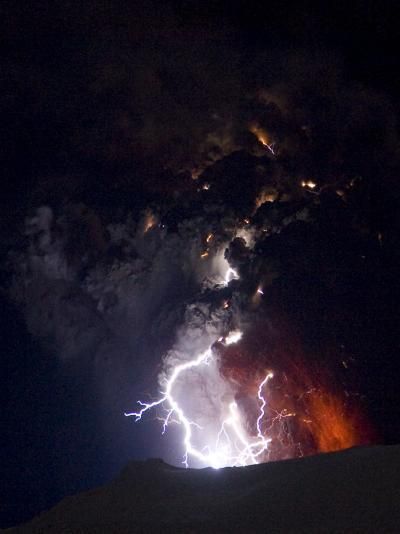 Lighting Seen Amid the Lava and Ash Erupting from the Vent of the Volcano in Central Iceland--Photographic Print