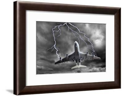 Lighting Striking An Aeroplane, Composite-Victor De Schwanberg-Framed Photographic Print