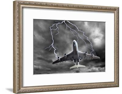 Lighting Striking An Aeroplane, Composite-Victor De Schwanberg-Framed Photographic Print