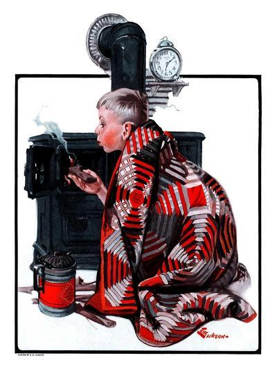 """Lighting the Wood Stove,""February 28, 1925-Elbert Mcgran Jackson-Giclee Print"