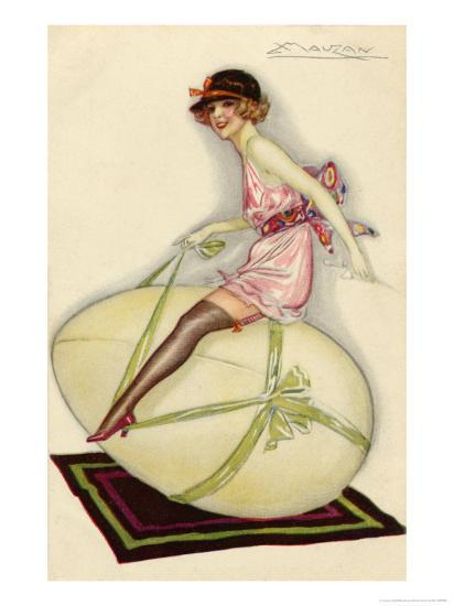 Lightly-Dressed Girl Riding an Egg-Luciano Achille-Giclee Print