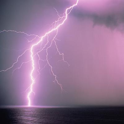 Lightning across the sea-Klaus Hackenberg-Photographic Print