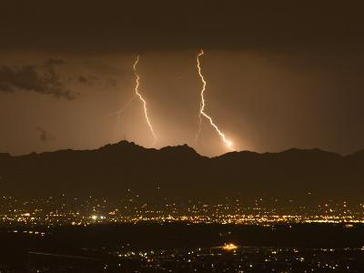 Lightning Bolt Strikes Out of a Typical Monsoonal Lightning Storm, Tucson, Arizona-Mike Theiss-Photographic Print