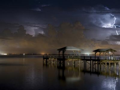 Lightning Off a Dock in Titusville, Florida Looking Towards Cape Canaveral-Melissa Southern-Photographic Print