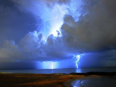 Lightning on Beach in Mexico-Chasethesonphotography-Photographic Print