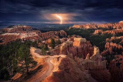 Lightning over Bryce Canyon-Stefan Mitterwallner-Photographic Print