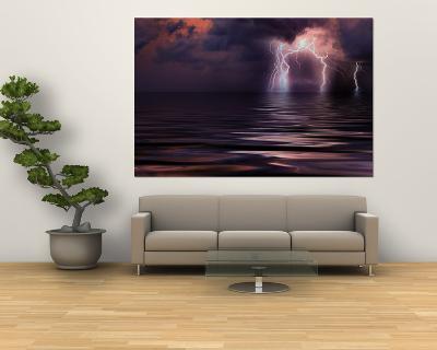 Lightning over the Sea--Giant Art Print