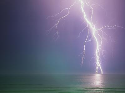 Lightning Storm over Ocean-Peter Wilson-Photographic Print
