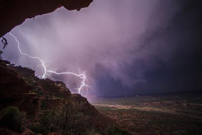 Lightning Strikes Above the Rich Badlands of Grand Staircase-Escalante National Monument-Cory Richards-Photographic Print