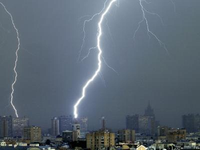 Lightning Strikes in Moscow During a Violent Rain Storm--Photographic Print