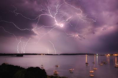 Lightning Strikes Off the Coast of Portland, Maine-Robbie George-Photographic Print