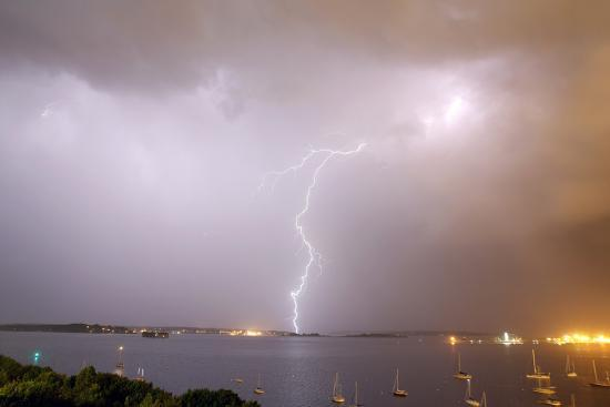 Lightning Strikes over Casco Bay-Robbie George-Photographic Print
