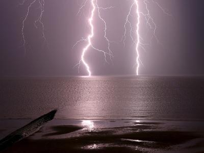 Lightning Strikes the Sea-Olivier Matthys-Photographic Print