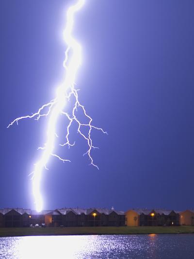 Lightning Striking an Apartment Complex-Jim Reed-Photographic Print