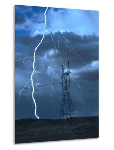 Lightning Striking-Jeff Vanuga-Metal Print