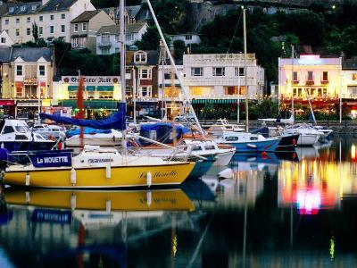 Lights and Yachts Reflected in Harbour at Dusk, Torquay, Torbay, England-David Tomlinson-Photographic Print